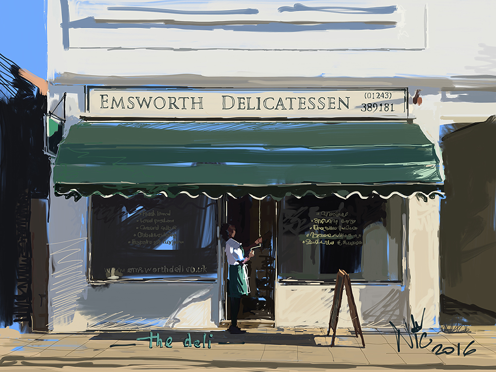 Ipad painting of the Emsworth Deli by Nic Cowper
