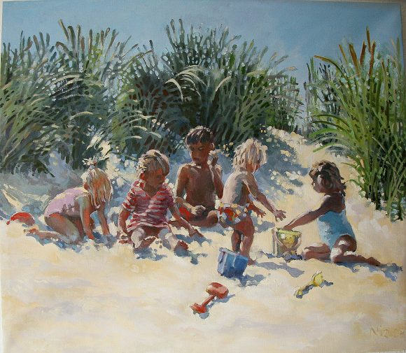 Oil painting by Nic Cowper of kids on a beach