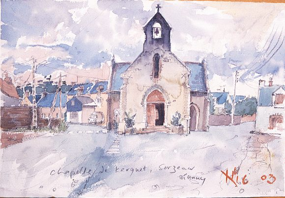watercolour of achurch in brittany