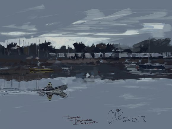 Ipad idgital drawing of the deck houses emsworth by nic cowper