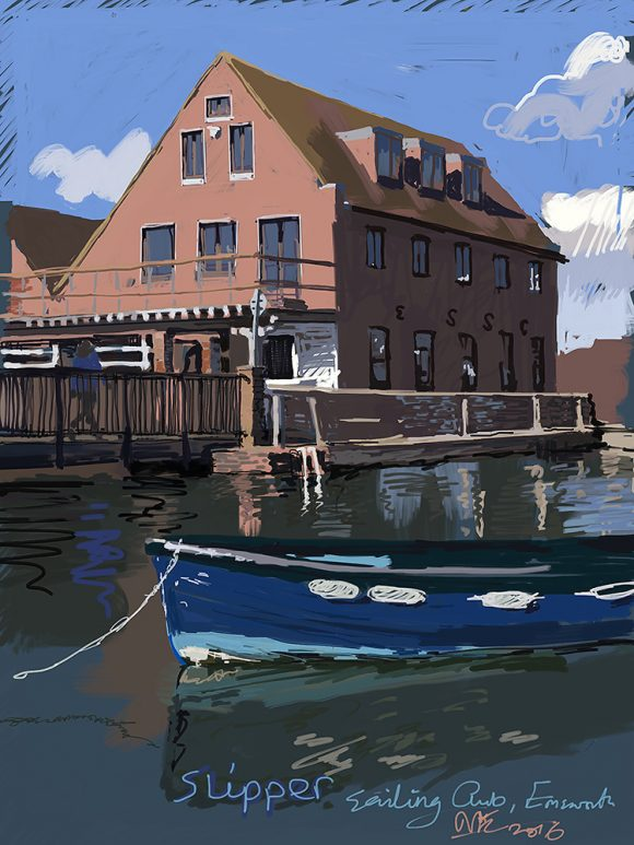 Painting of Slipper Sailing Club. Emsworth