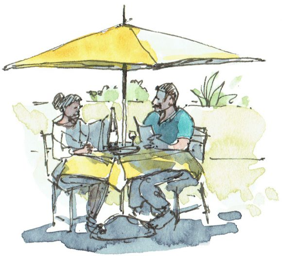 'Al fresco' a watercolour illustration for a hospitaltiy business