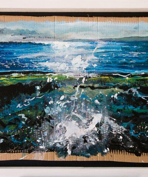 New Wave 1 - mixed media on corrugated cardboard