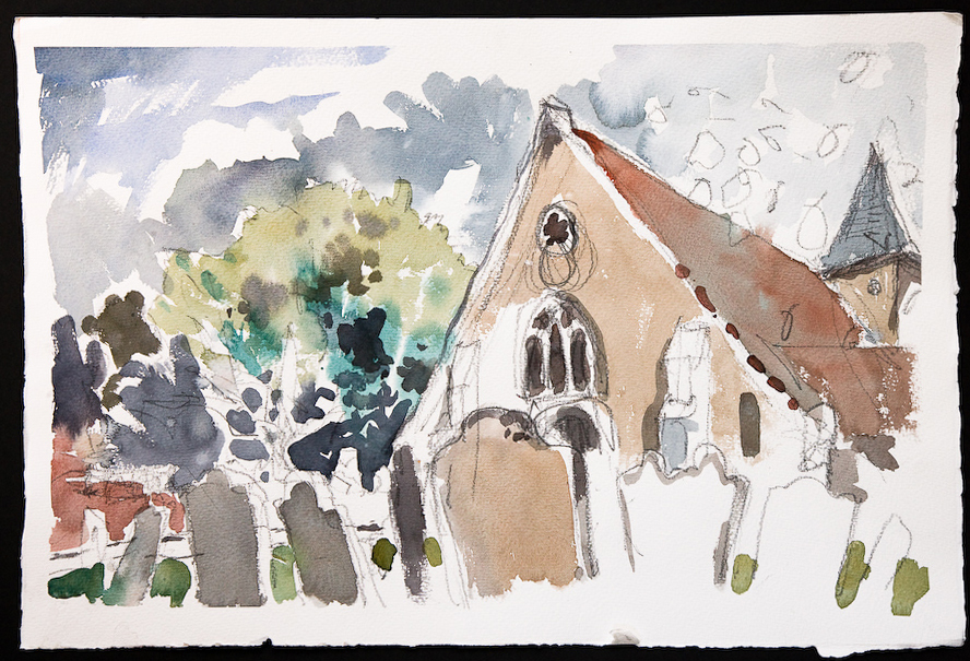 A watercolour sketch of warblington church by emsworth artist nic cowper