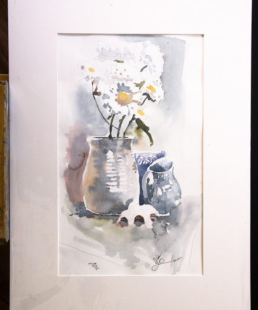 Nic Cowper, Watercolour of vase of flowers