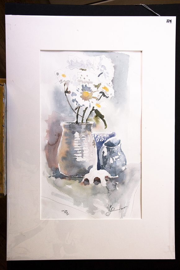 Nic Cowper, Watercolour of vase of flowers