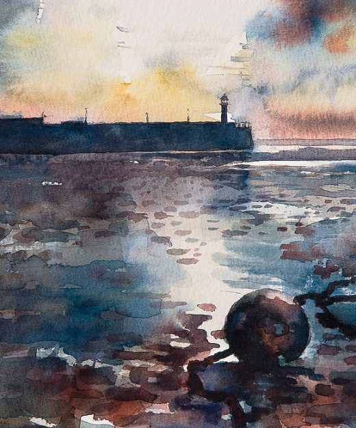 A watercolour painting of St Ives' harbour wall and lighthouse