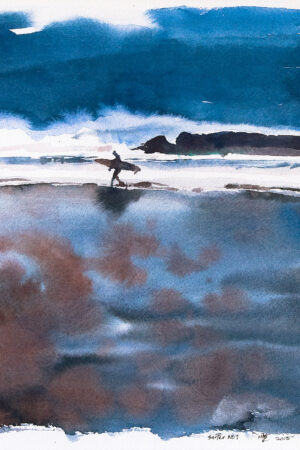 Picture by nic cowper of surfer in front of giant wave Croyde bay..