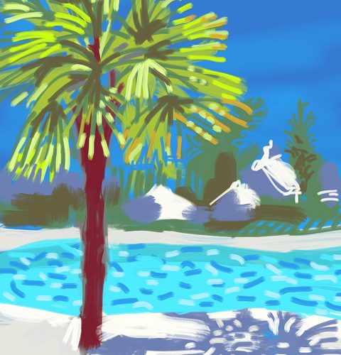 ipad painting by Nic Cowper of swimmingpool,