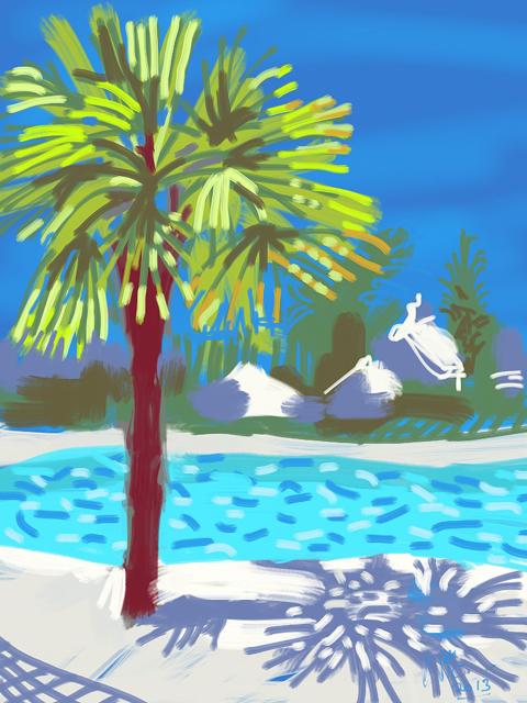 ipad painting by Nic Cowper of swimmingpool,