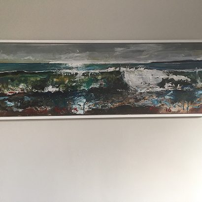 A painting of a crashing wave by nic cowper