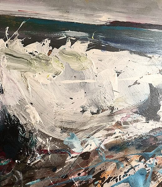 A section of a painting of a crashing wave by nic cowper