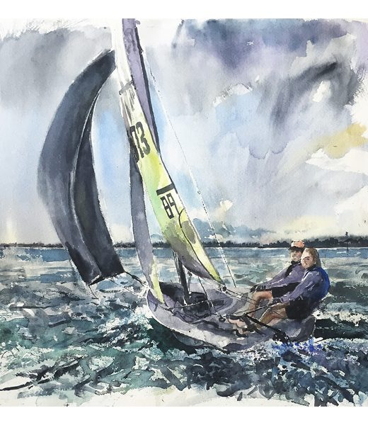 Watercolour painting of RS feva in Chichester Harbour by Nic Cowper, Emsworth artist