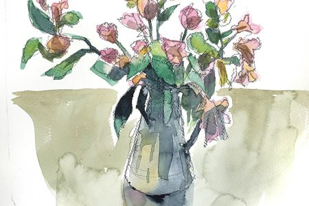 A watercolour by Nic Cowper of still life with flowers