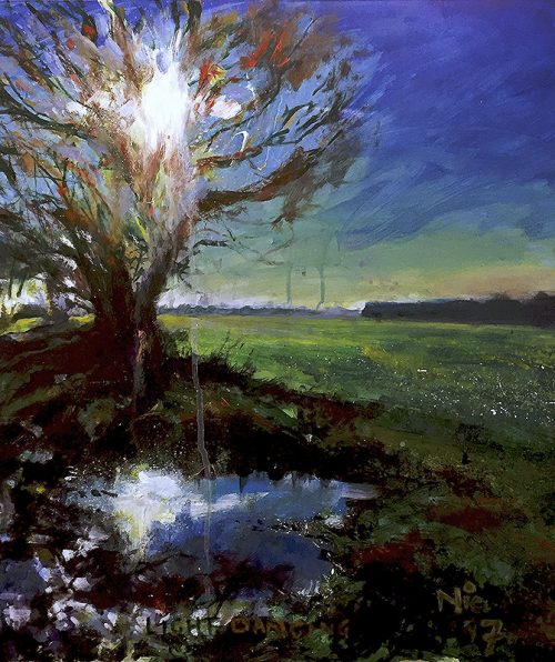 Mixed media painting Dancing Light by artist Nic Cowper