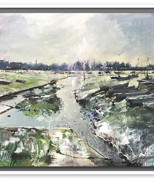 Image of large mixed media work by nic cowper of emsworth harbour